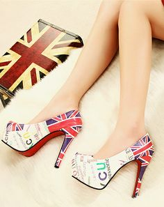 Fashion Flag Waterproof High Heel Shoes For Lady