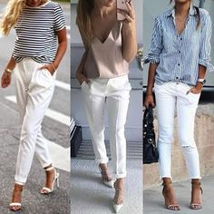 New Ideas For Moda Primavera Casual Chic White Pants Chic Outfits, Spring Outfits, Fashion Outfits, Womens Fashion, Fashion Clothes, Fashion News, White Pants Outfit, Look Chic, Casual Chic