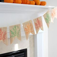 Paper Bag Leaf Banner -- quick and inexpensive fall decoration -- in other words, my kind of art project!