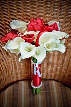 DIY bouquet. Silk flowers, ribbon, pearls glued, & monogram stickers under $20 a bouquet