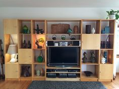 Jane's Lounge Unit reconfigured for a larger TV. By Lundia Large Tv, Cube Storage, Lund, Tv Unit, Storage Solutions, Your Space, Home Office, Shelving, Bookcase