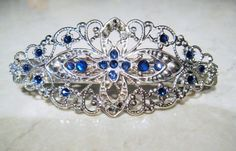 Silver filigree hair clip barrette with by LindasAccessories