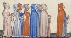 Hoods with buttons; Très belles Heures de Notre-Dame (BnF NAL 3093, folio 161v), 1375-1425 c.