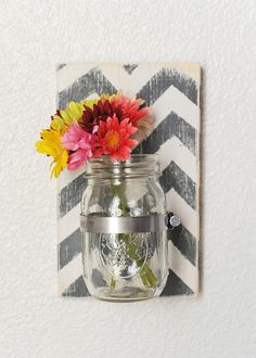 Wood Mason Jar Wall Sconce Large Sconce by JHomeStudios on Etsy, $16.00