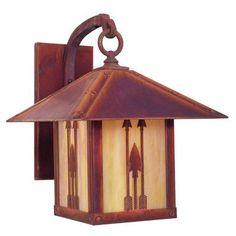 "Arroyo Craftsman Timber Ridge 1-Light Outdoor Wall Lantern Size: 13"" H x 9"" W x 12"" D, Finish: Antique Copper, Shade Type: Amber Mica"
