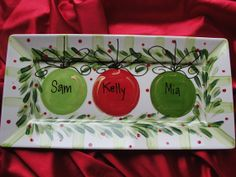 Personalized Rectangle Christmas Platter by claypotspottery, $45.00 some version of...