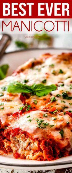 Chicken Manicotti, Baked Manicotti, Cheese Manicotti, Homemade Manicotti Recipe, Casserole Recipes, Pasta Recipes, Al Dente, Appetizers, Pastries