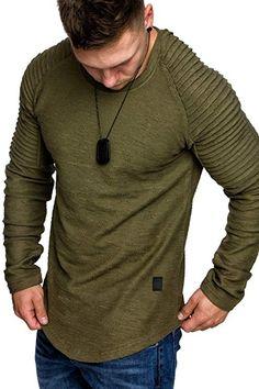 ec3bbbecebdd Amaci Sons Oversize Vintage Herren Pullover Biker-Style Hoodie Sweatshirt  Crew-Neck 6069 Khaki S