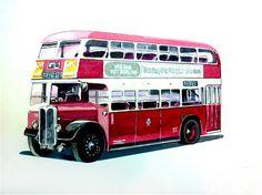"Daily Paintworks - ""1950s AEC Regent 111  Reading Corporation Transport Bus"" - Original Fine Art for Sale - © John Monney"