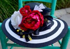 Tea party hat, Kentucky derby hat, romantic hat, little black dress, Black and white stripe wide brim straw hat.