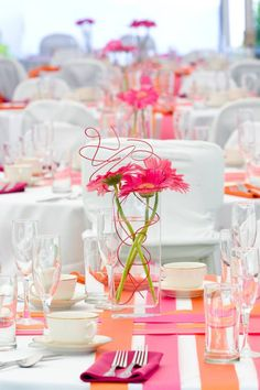 Brights with white - two shades such as orange and warm pink work well with white/off-whte