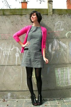 hot pink over gray dress and black tights