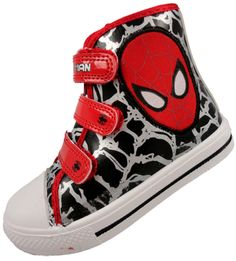BOYS SPIDERMAN HI TOP TRAINER VELCRO BOOTS RED BLACK SILVER Spider-Man SHOES 7-1