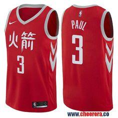 cd292a10e Men s Nike Houston Rockets  3 Chris Paul Red NBA Swingman City Edition  Jersey Robert Horry