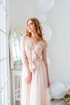 Bridal robe bride robe blush robe lace brial robewedding gown bridal gown getting ready robe womens robe bridal lingerie Bridal Boudoir, Bridal Lingerie, Bridal Gowns, Wedding Gowns, Lace Lingerie, Honeymoon Lingerie, Chiffon, Peignoir, Night Gown
