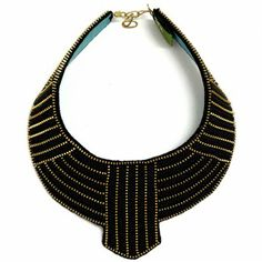 Egyptian/ Art Deco collar necklace - made from recycled zips!
