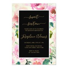 Trendy Chic Pink Roses Watercolor Sweet Sixteen Invitation #Ad , #SPONSORED, #Watercolor#Roses#Sixteen#Sweet Tea Party Invitations, Sweet Sixteen Invitations, Watercolor Wedding Invitations, Floral Invitation, Bridal Shower Invitations, Invitation Cards, Invitation Birthday, Shabby Chic Pink, Watercolor Rose