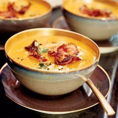 Butternut Squash Soup with Crisp Pancetta | This creamy soup gets a jolt of texture from supercrispy pancetta.