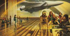 "jim burns, ""Spaceport"", from Harry Harrison's book Mechanismo."