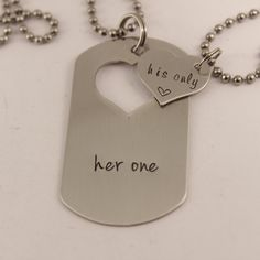 Her One / His Only dog tag with heart cut out & Heart set - available as keychain, bracelet or necklace set (or mix thereof)