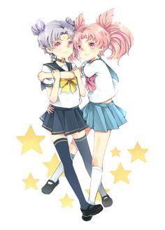Sailor Moon / Chibi Usa and Diana (human) / tumblr