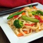 Quick Lower Fat Vegan Pad Thai Recipe (Rice Stick Noodles with Veggies in Spicy Peanut Sauce)