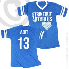ALPHA OMICRON PI STRIKEOUT ARTHRITIS SPORTS JERSEYS! GETSOMEGREEK & AOPI!