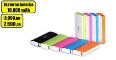 Eksterna baterija Golf kompaktnih dimenzija, pogodna za Android telefone USB izlaz 5V, 1A. Kapacitet: 10000 mAh. Dimenzije:115x75x33 mm. Brzo punjenje.