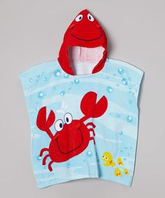 Another great find on #zulily! Blue & Red Crab Hooded Towel by Vitamins Baby #zulilyfinds