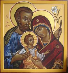 The Holy Family, St. Joseph, Virgin Mary and Infant Jesus Religious Icons, Religious Art, Jesus Mary And Joseph, St Joseph, Madonna, Jesus E Maria, Jesus Face, Russian Icons, Byzantine Icons