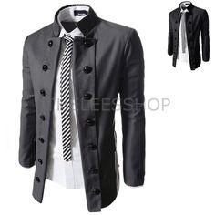 Mens Military Double Breasted Jackets Rayon Solid Mandarin Collar Blazers  SDJ