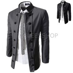 Mens Military Double Breasted Jackets Rayon Solid Mandarin Collar Blazers  SDJ