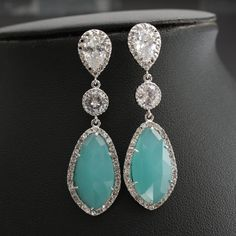 Wedding Jewelry Mint Earrings Bridal Earrings Silver Wedding