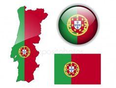 Botão de bandeira, mapa e lustroso de Portugal — Vetor de Stock