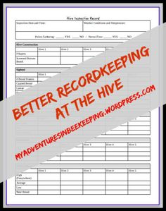 Hive Inspection Form and record keeping for the beekeeper