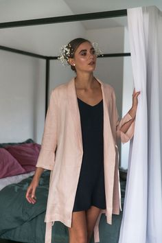 Alys Linen Short Robe in Blush Pink Bridal Robes, Open Weave, Blush Pink, Campaign, Kimono Top, Pockets, Tie, Texture, Phone