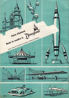 Brochure from the Kaiser Aluminum Hall of Fame at Disneyland, one of the corporate-sponsored attractions that was quickly shoehorned into Tomorrowland in time for the park's grand opening in July Vintage Disneyland, Disneyland California, Old Disney, Disney Love, Disney Stuff, Disney Parks, Walt Disney World, Disney Rides, Brainstorm
