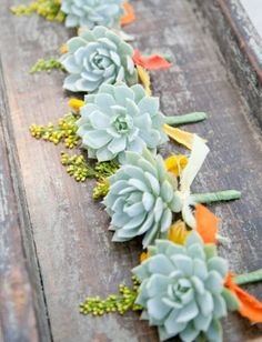 succulent wedding flowers Add your own wedding color flowers to the succulents.... Like lavender...