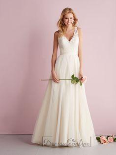 Straps A-line V-neck Wedding Dresses with Illusion Back