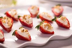 Strawberry-Cream Cheese Bites - From:  Kraft Recipes.  This recipe could be dessert for a party or for a family dinner.  Easy with only 3 ingredients, and 10 minutes total time.  Even the kids could help make this one.