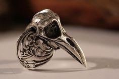 On Sale , Raven Skull Ring , bird skull ring,  Antique Silver, Self adjustable Sizes 4 to 11 (Made in NYC)