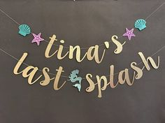 This banner is strung together with twine. The mermaid, starfish and shell default to colors as shown in picture unless you say otherwise I have several color options available refer to the 2nd. photo. The letters are approx. 5-8 inches high. This banner is sure to add glitz to your