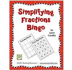 FREE Simplifying Fractions Bingo - Laura Candler - TeachersPayTeachers.com