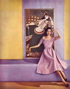 Elizabeth Threatt in a pale lilac linen dress by Hattie Carnegie, photo by Louise Dahl-Wolfe for Harper's Bazaar, 1951