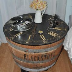 How to Make a Wine Barrel Side Table {repurpose}