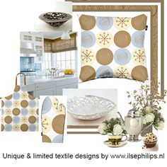 """mood board with pillow, apron and oven glove """"brown-blue circles"""" by www.ilsephilips.nl"""