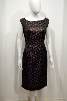 Vintage 60's 1960's LBD Sparkle Floral Brocade Lurex Metallic Gold Pink Black Fitted Wiggle Cocktail Party Dress 28 W 36 B