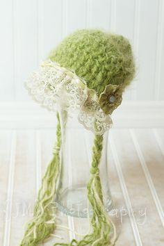 Newborn crochet hat in spring green. $28.00, via Etsy.