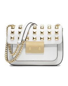 Small Sloan Pyramid-Stud Saffiano Flap Bag by MICHAEL Michael Kors at Neiman Marcus.