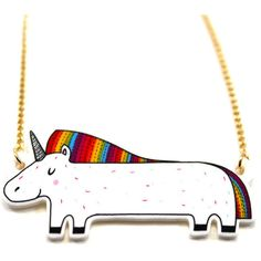 Vulpeculiar Rainbow Unicorn Necklace ($21) ❤ liked on Polyvore featuring jewelry, necklaces, rainbow necklace, unicorn jewelry, unicorn necklace, rainbow jewelry and rainbow unicorn necklace